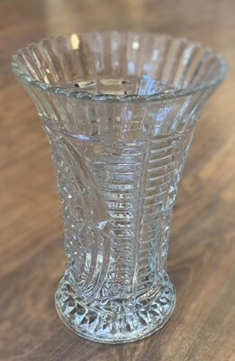 "Vintage Anchor Hocking Stars & Bars Vase 8 1/4"" x 4"""