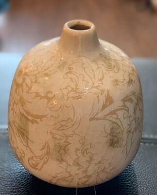 """Cream Bud Vase Ceramic 4.52""""Dia x 4.92""""H"""