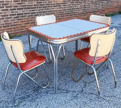 """1950's Retro Diner Table + 4Chairs (48""""L x 35.5""""W x 30""""H)"""