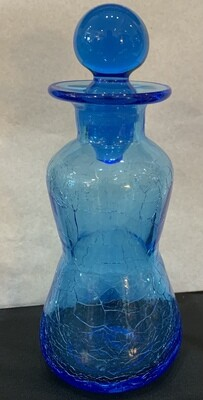 Vintage Blue Crackled Glass Decanter Ball Stopper Mid Century Hand Blown