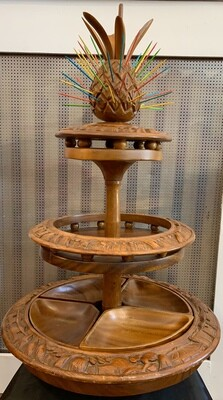 """Vintage Lazy Susan 3 Tier Hand Carved Monkey Pod Wood Pineapple Top Serveware 26""""t x 16"""" w Made In Philippines (4 Removable Wooden Bowls)"""