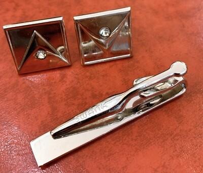 Swank Geometric Tie Clip w/ Cufflinks Set