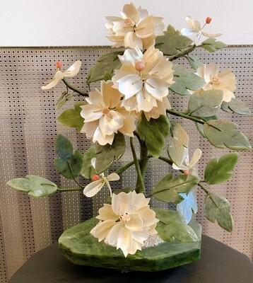 "Vintage Asian Jade Glass Agate Stone  Flower Leaf Bonsai Tree 12"""