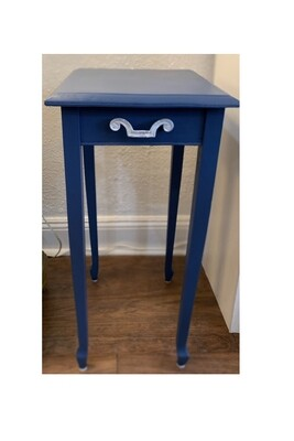 """Vintage Navy Blue Painted Side Table 26"""""""