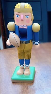 "Vintage Norrgard Designs Wooden Football Player Nutcracker 10"""