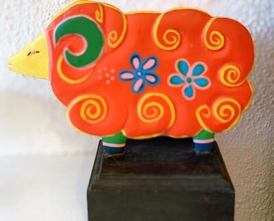 Wooden Carved Folk Art Sitter Shelf Lamb