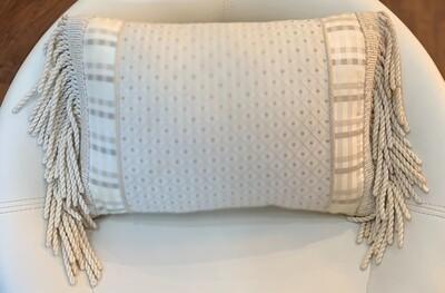 "Cream Fringe Pillow - 8.5""x15"""