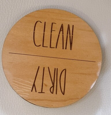 CleanDirty Dishwater Magnet Maple