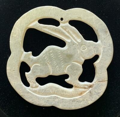 Chinese Jade Stone Rabbit Pendant