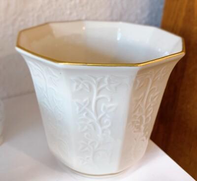 """Vintage Lenox Ivy Gold Trim Cache Pot 5 5/8"""" x 5"""""""