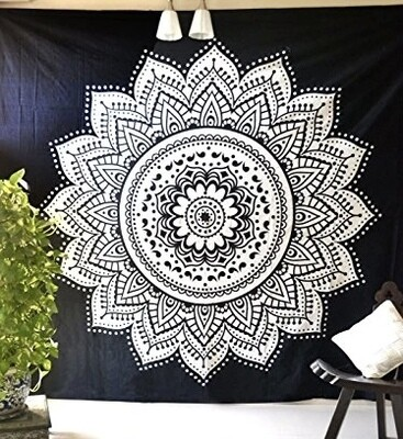 "Black and White Mandala Wall Tapestry  59"" x 59"""