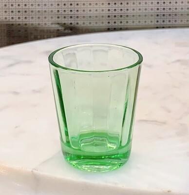 Vintage Green Depression Glass Whiskey Shot Glasses