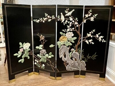 """Chinese Lacquered Wood and Stone Four Paneled Screen 36""""h x 48""""w x 7/8""""d fully extended"""