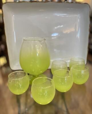 Vintage Green Blendo Style Cocktail Set (Pitcher & 6 cups)