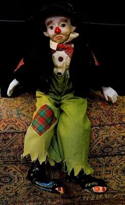 "18"" Vintage Emmett Kelly Porcelain Sad Clown Music Box"