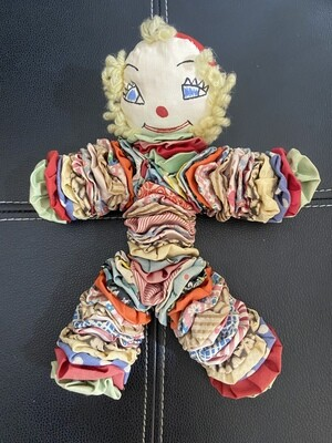 "Vintage Jingle Bell Clown Cloth Doll 10"""