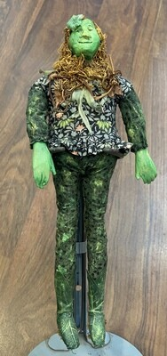 """Vintage Green Forest Fairy Doll 9"""""""