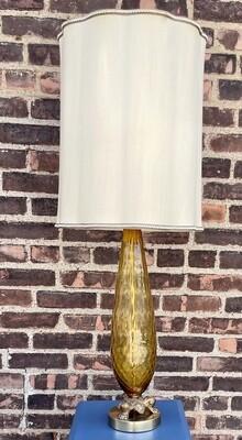 "Mid Century Auburn Glass Clawfoot Lamp 39"""