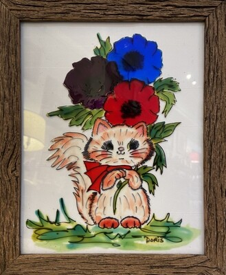 Cat With Flowers Wall Art 9x11