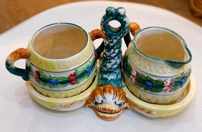 Vintage Ceramic Sugar Creamer with caddy Fish Handle 3Pc set Made in Japan