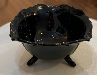 Vintage Mt Pleasant Black Amethyst 3 Footed 5 1/2 triangle Bowl by Smith Co Glass
