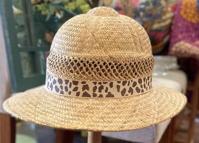 Straw Safari Hat with Cheetah Print