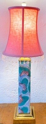 Antique Hand Painted/Pink Shade Table Lamp