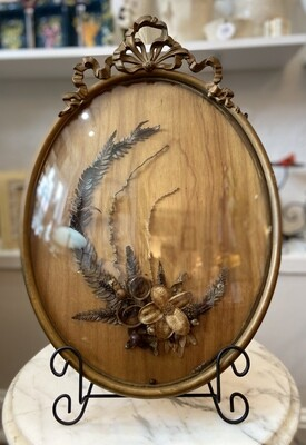 Wood Floral Motif with Convex Glass Frame