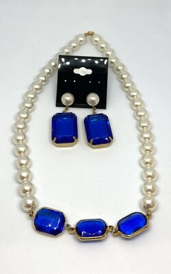 Blue Faux Gem Gold and Pearl Necklace and Earrings