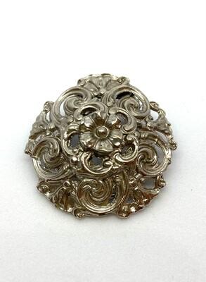 Silver Filigree Flower Clip Brooch