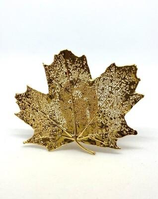 Gold Decaying Leaf Clip Brooch
