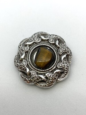 Silver Clip Brooch with Brown Stone