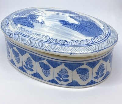 Vintage Chinese Box Blue and White Oval Porcelain