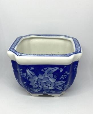 "Blue and White Square Ceramic Planter 3"" Tall"