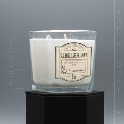 6 oz Cowgirls & Lace Traditional Candle in Open Glass