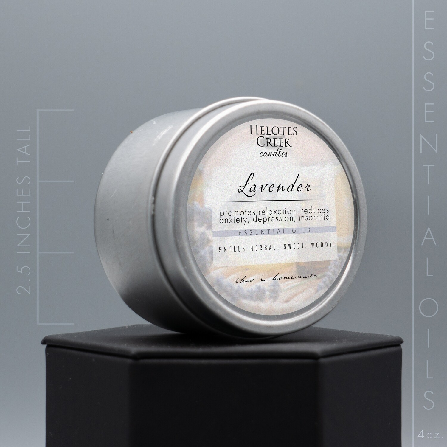 4 oz Lavender Essential Oil Candle in Tin