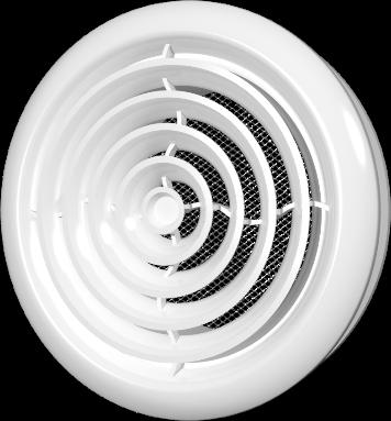10DK, Диффузор приточно-вытяжной со стопорным кольцом и фланцем D100