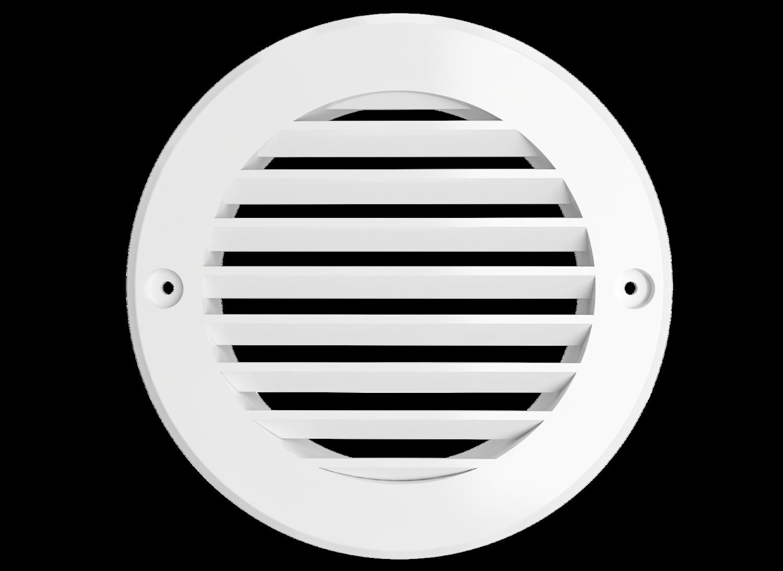 12РК, Решетка вентиляционная круглая D150 вытяжная АБС с фланцем D125