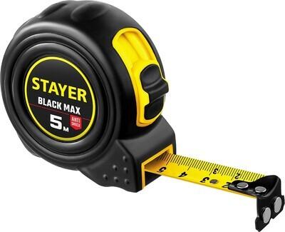 STAYER BlackMax 5м / 19мм рулетка в ударостойком полностью обрезиненном корпусе  и двумя фиксаторами
