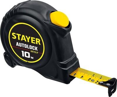 STAYER АutoLock 10м / 25мм рулетка с автостопом