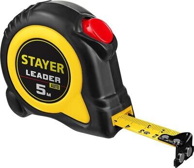 STAYER LEADER 5м / 19мм рулетка с автостопом в ударостойком обрезиненном корпусе