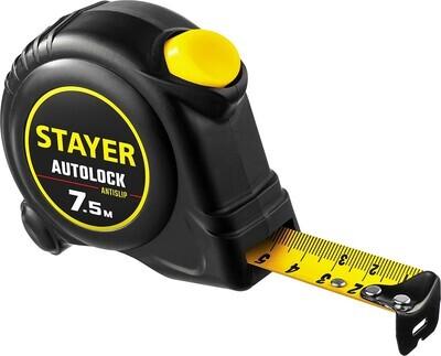 STAYER АutoLock 7,5м / 25мм рулетка с автостопом