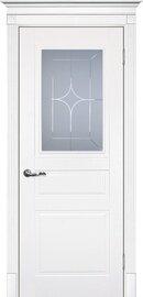Дверь Смальта 01, Белый ral 9003, Эмаль, со стеклом Сатинат, гравированное