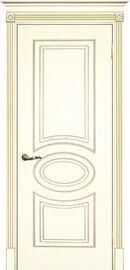 Дверь Смальта 03, Слоновая кость ral 1013 патина золото, Эмаль, глухое