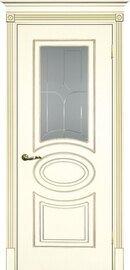 Дверь Смальта 03, Слоновая кость ral 1013 патина золото, Эмаль, со стеклом Сатинат, пескоструйная обработка