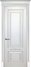 Дверь Смальта 04, Белый ral 9003  патина серебро, Эмаль, глухое