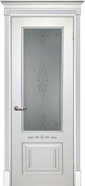 Дверь Смальта 04, Белый ral 9003  патина серебро, Эмаль, со стеклом Сатинат, пескоструйная обработка