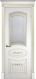 Дверь Смальта 05, Белый ral 9003  патина золото, Эмаль, со стеклом Сатинат, шелкотрафаретная печать