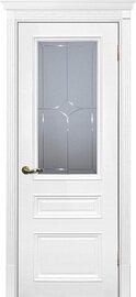 Дверь Смальта 06, Белый ral 9003, Эмаль, со стеклом Сатинат, гравированное