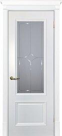 Дверь Смальта 07, Белый ral 9003, Эмаль, со стеклом Сатинат, гравированное